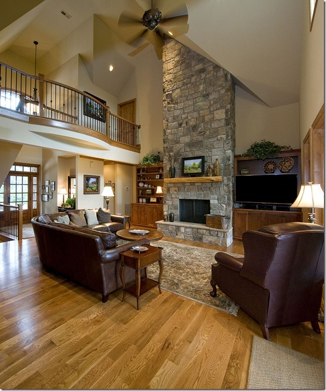 Rock Fireplace vaulted ceilings