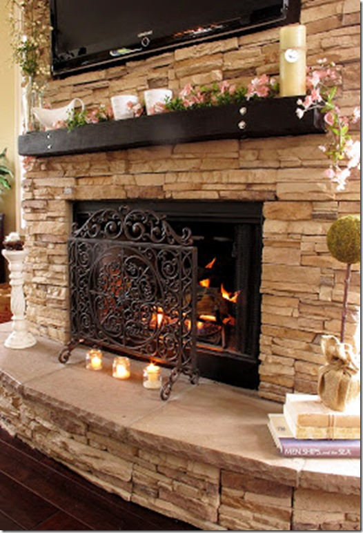 Rock Fireplace with curved hearth