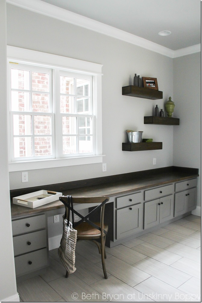 Built-in Desk in the mudroom as seen in the 2015 Birmingham Parade of Homes built by Murphy Home Builders