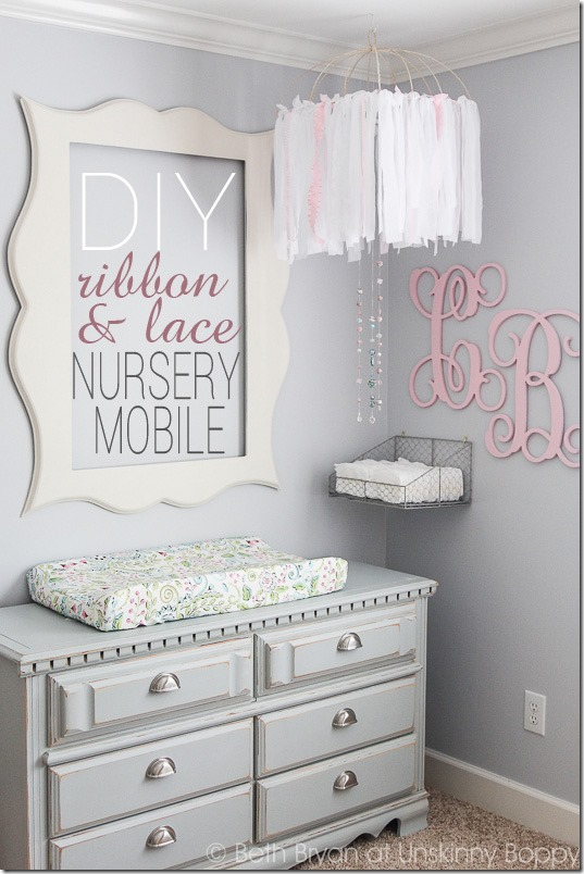 DIY Baby Nursery Mobile ribbon&lace