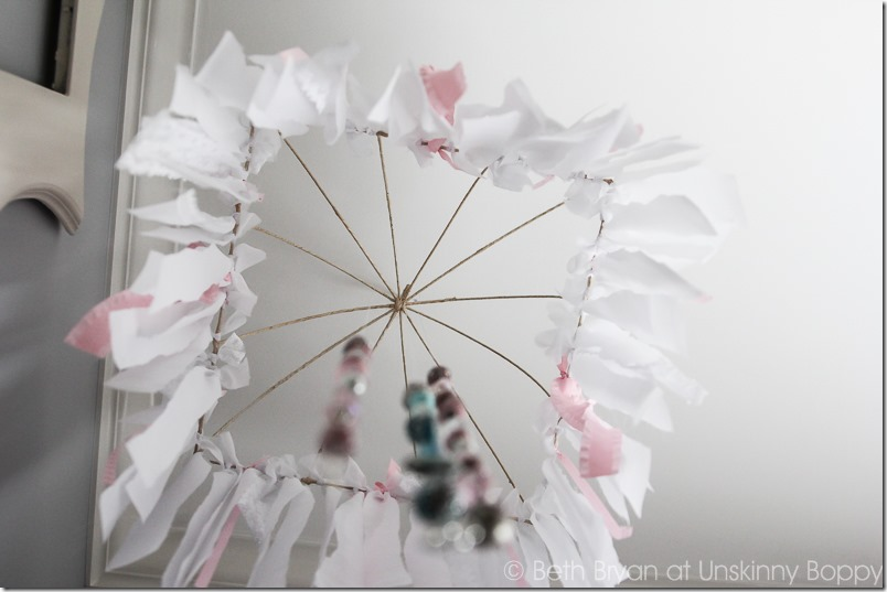 DIY nursery mobile with lace and ribbon-8