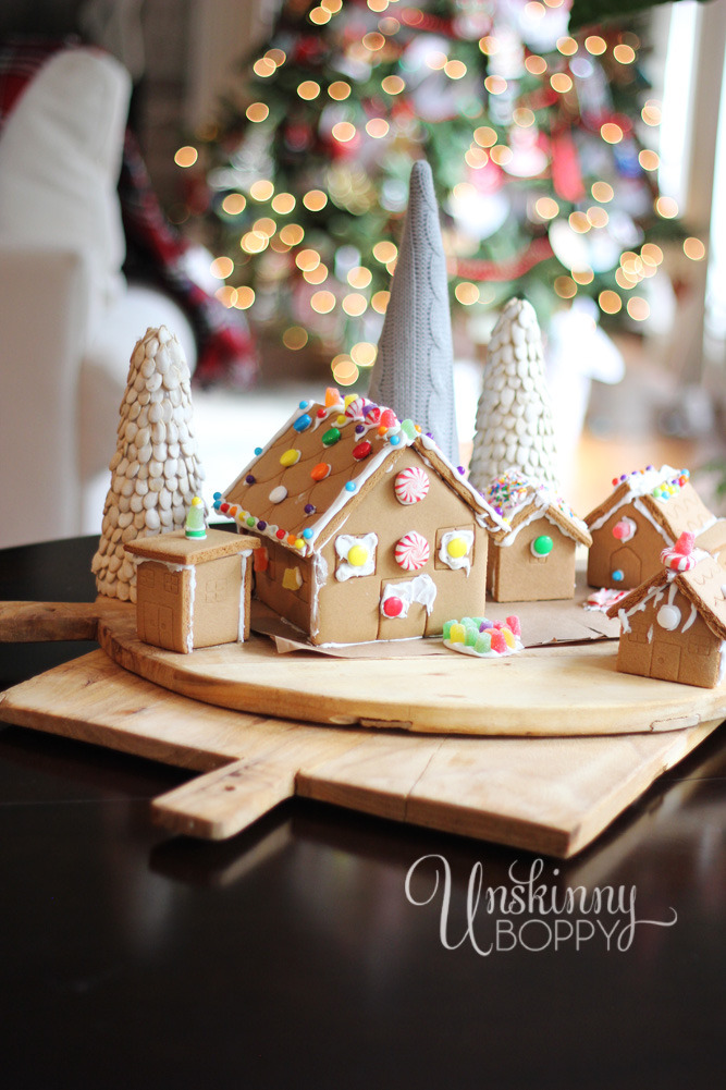gingerbread houses on breadboard