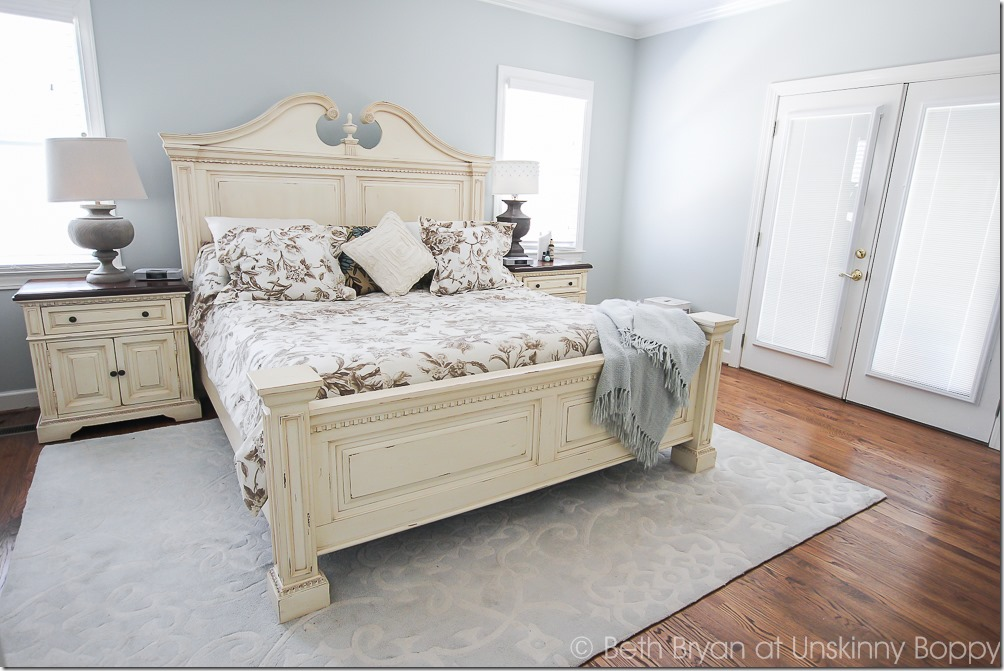 Pretty bedroom with Silver Sage paint