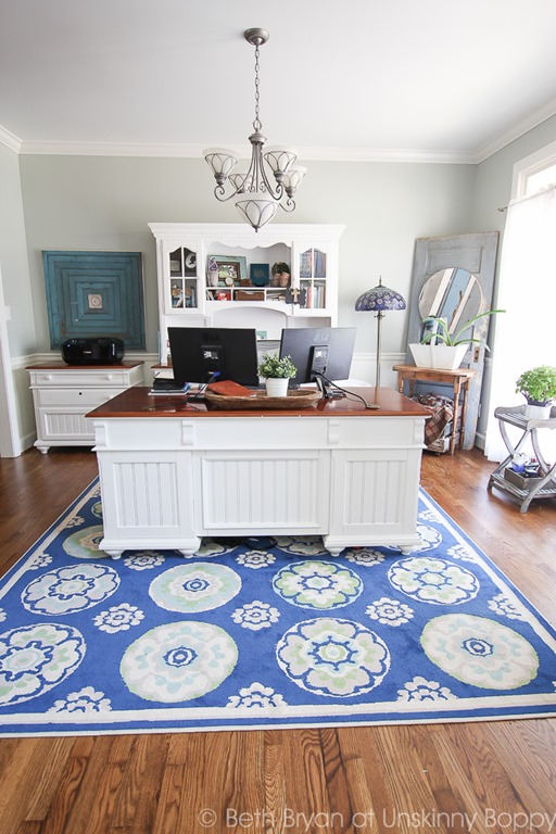 Home Office with blue rug