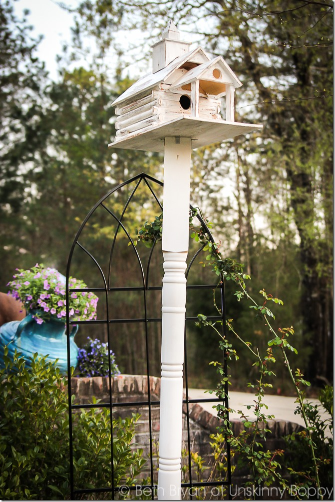 DIY birdhouse on a pole - DIY garden ideas | Cozy Spring Home Tour | www.unskinnyboppy.com