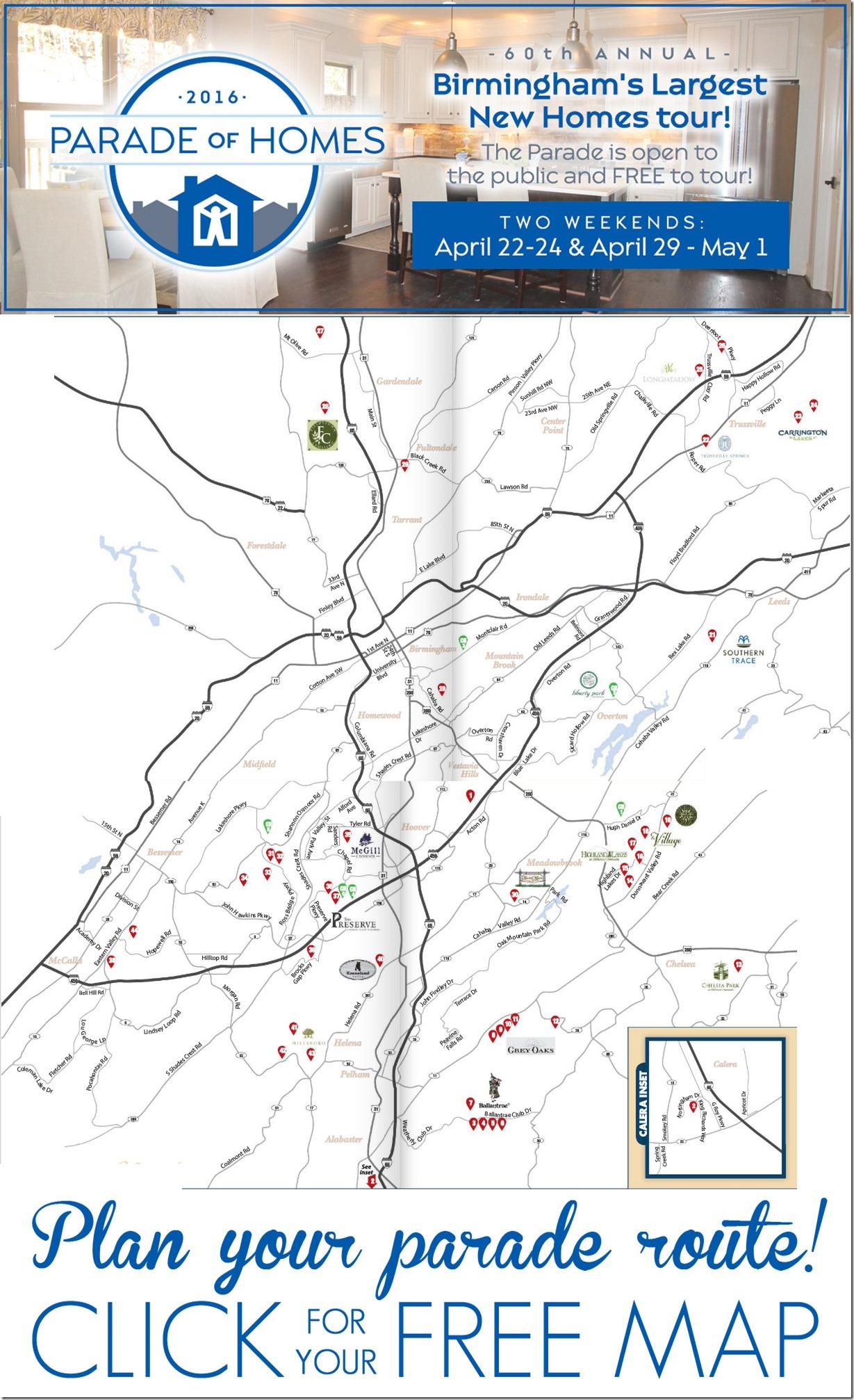 2016 Birmingham Parade of Homes Driving Map
