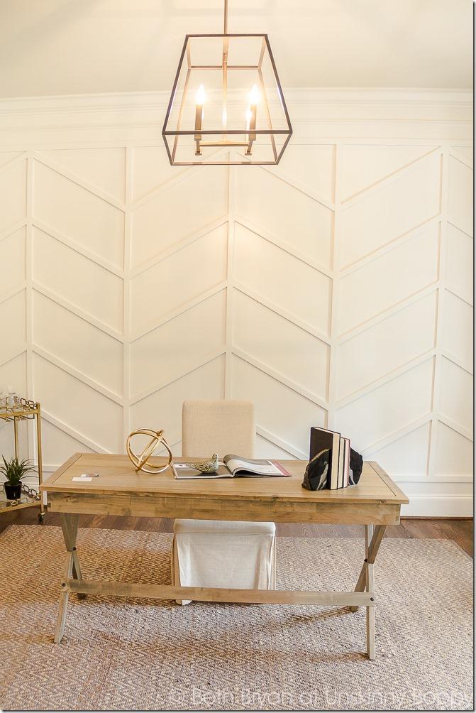 #herringbone wall treatment in a home office #wallideas