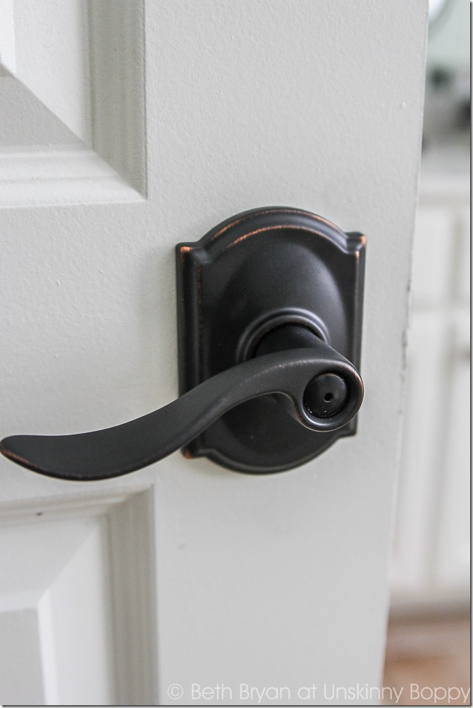 A closer look at the door handle we installed on our new door; this DIY project was a simple fix when we moved into a home without a door on our master bedroom!