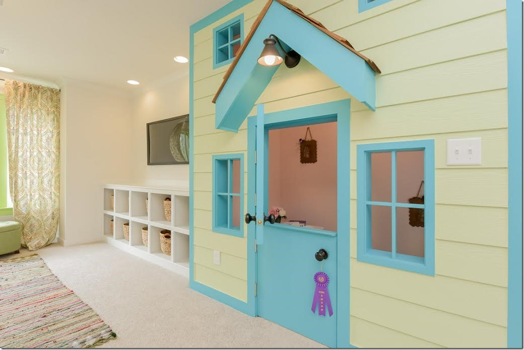 CUTE playroom built into wall to look like a child's house. LOVE