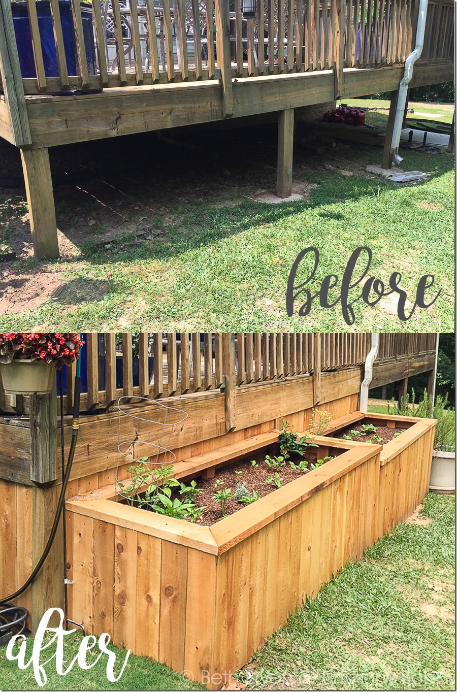 Beau Raised Garden Beds Enclosing Back Porch