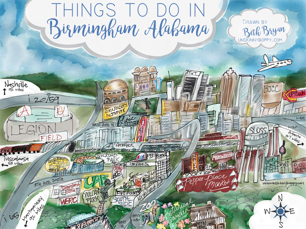 Fun Cartoon Map of Birmingham, Alabama landmarks drawn by Beth Bryan | www.unskinnyboppy.com