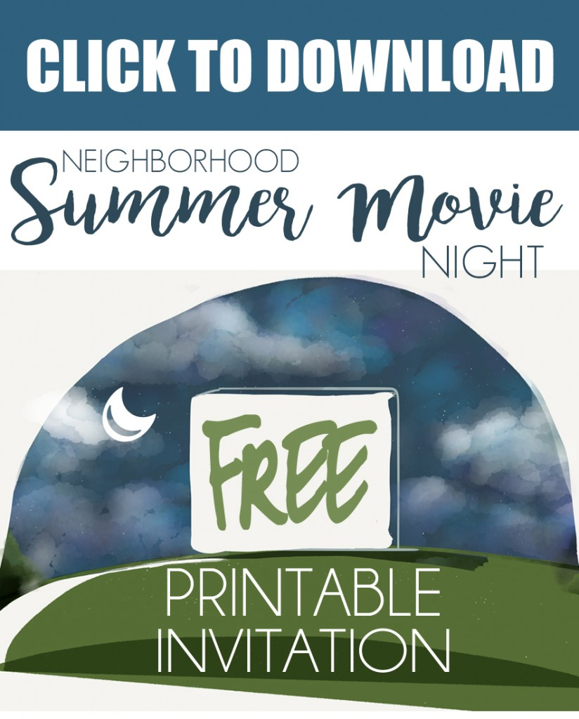 How to Host a Summer Outdoor Movie Night for the whole neighborhood-includes a free printable invitation and a great list of things you'll need to pull it off!