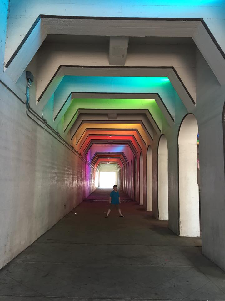 Lightrails Rainbow Tunnel under the viaduct in Birmingham | Photo by Beth Bryan | www.unskinnyboppy.com