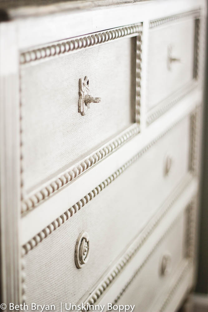Caroline Chest by Gabby Furniture- painted burlap drawer fronts and beaded edging