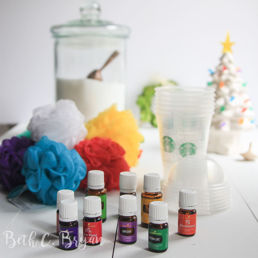 Essential oil Christmas gift idea- Starbucks cup, epsom salt and shower poof!