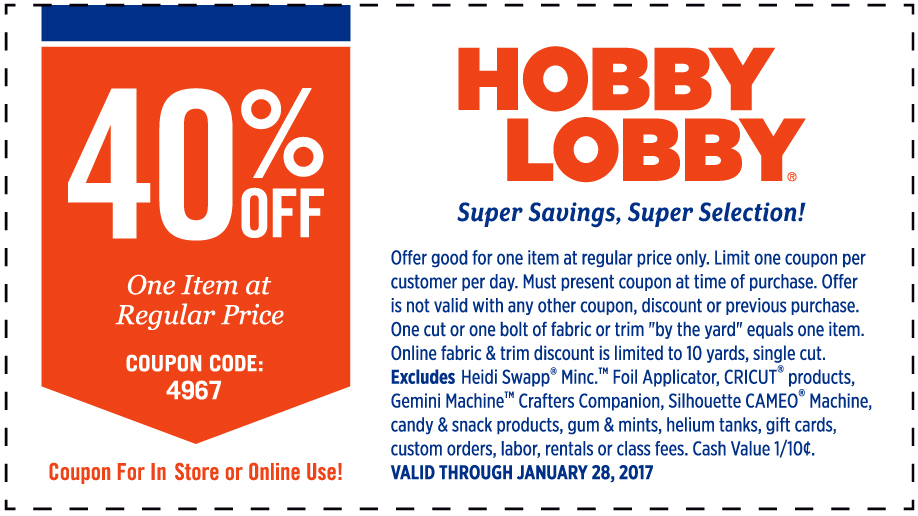 hobby lobby 40% off