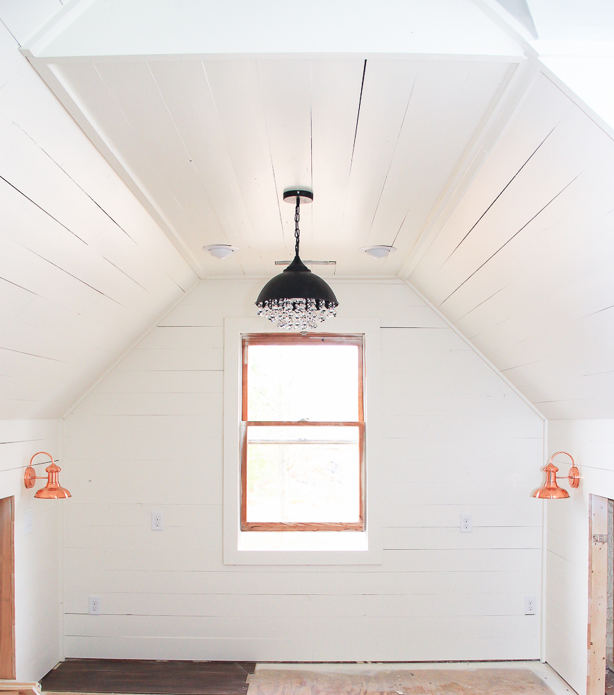 vintage copper lighting in attic office-1