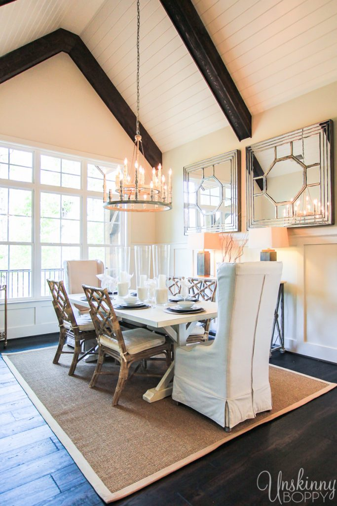 Dining room with shiplap a-frame ceiling