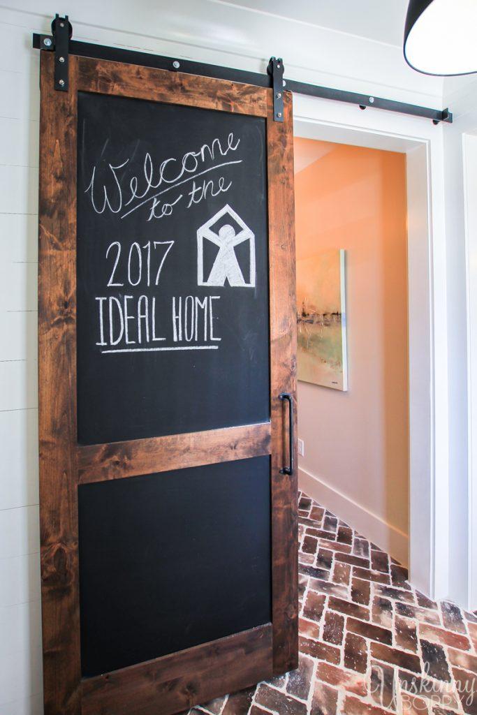 Barn door with chalkboard paint