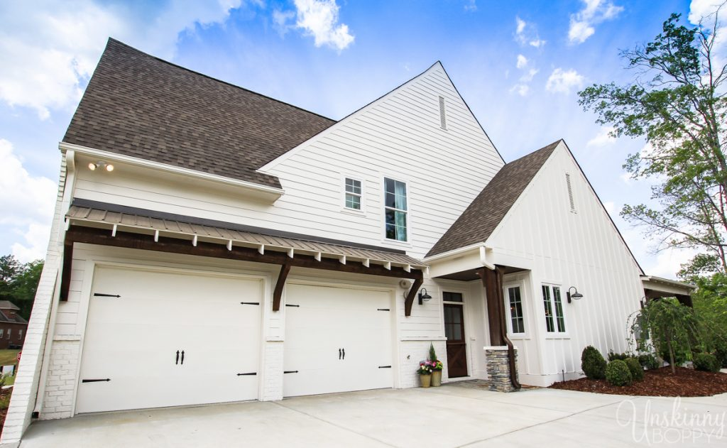 Garage on modern farmhouse