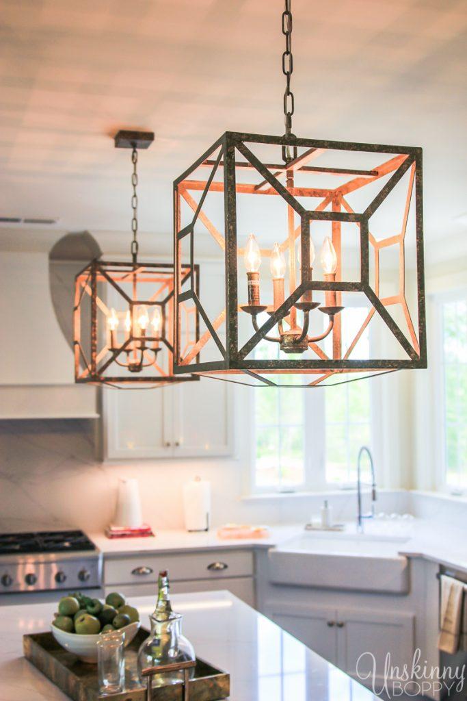 Modern aged brass kitchen pendants