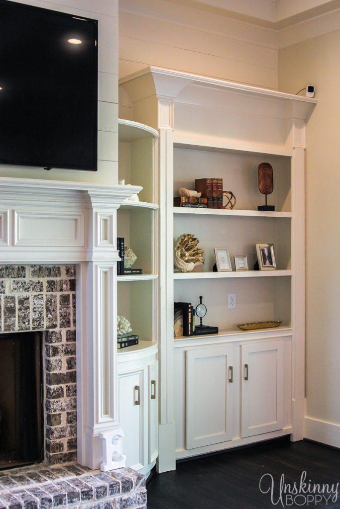 Built-ins beside fireplace