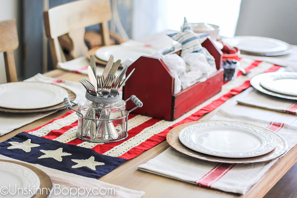 4th of July Table Decorating ideas with flag runner