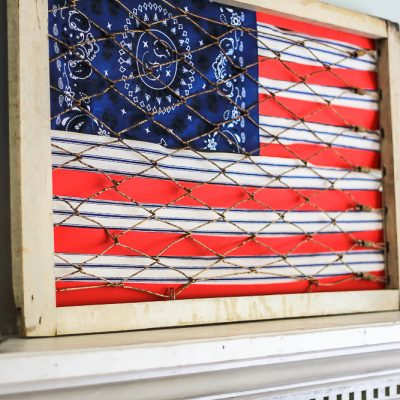 Vintage Flag made from ribbons and handkerchief