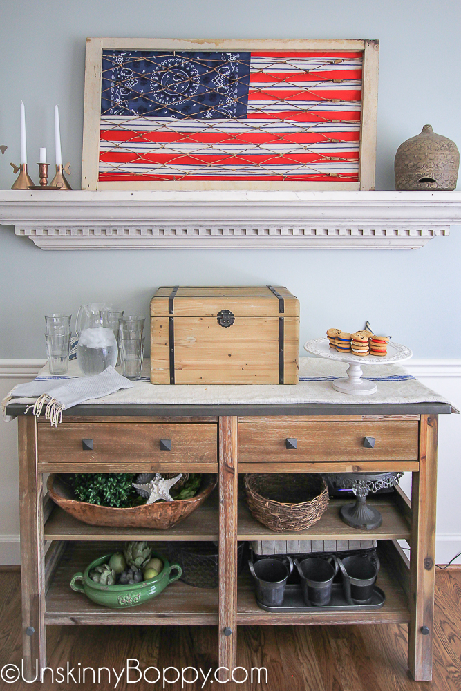 Dining room sideboard with flag