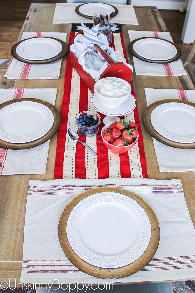Red white and blue tablescape with grain sacks