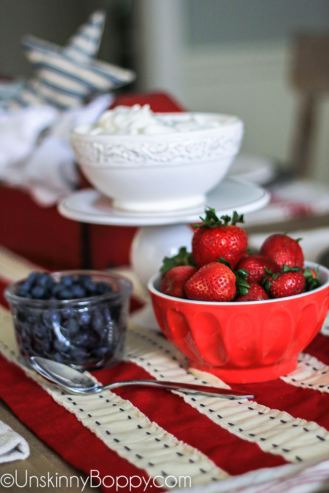 Strawberries, blueberries and whipped cream for 4th of july