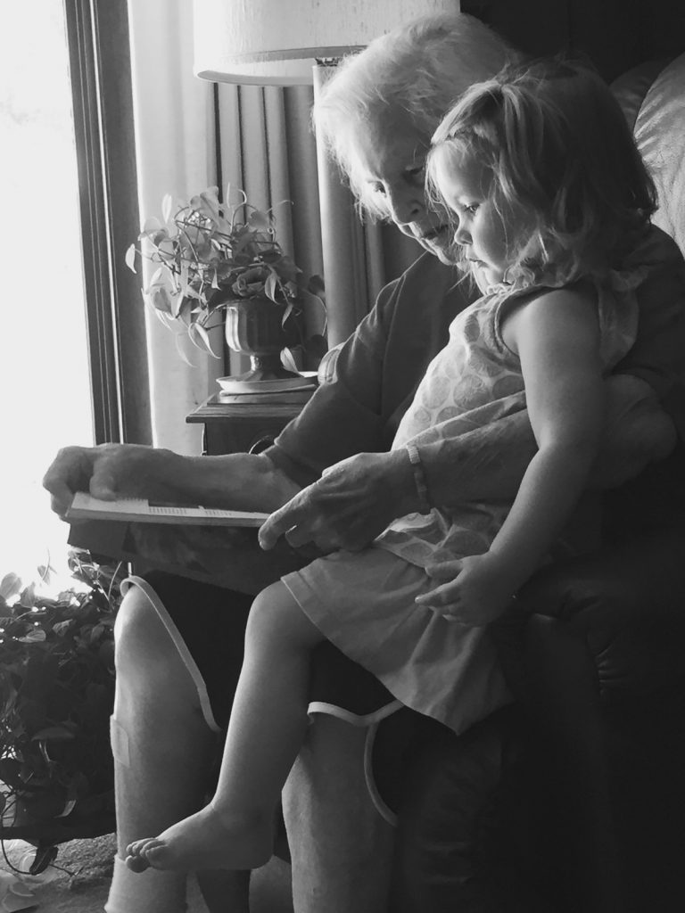 Granny and Caroline reading