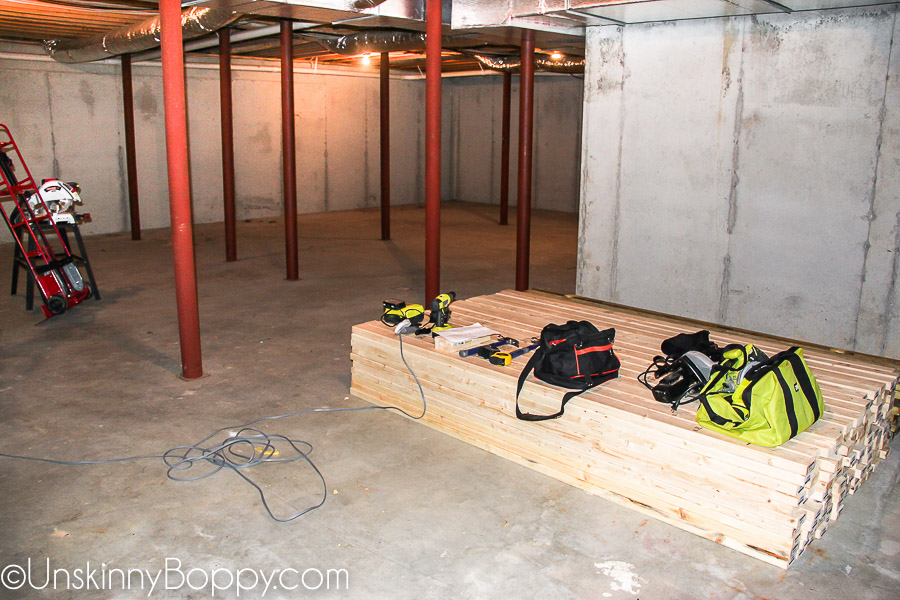 just a standard issue poured concrete basement  big, open space  no  windows, no plumbing  very straightforward