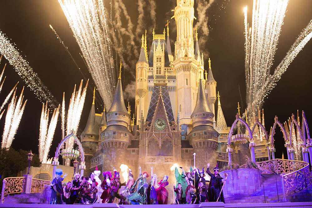 Villain Spelltacular in front of the castle at Mickey's not-so-spooky Halloween party at Disney World