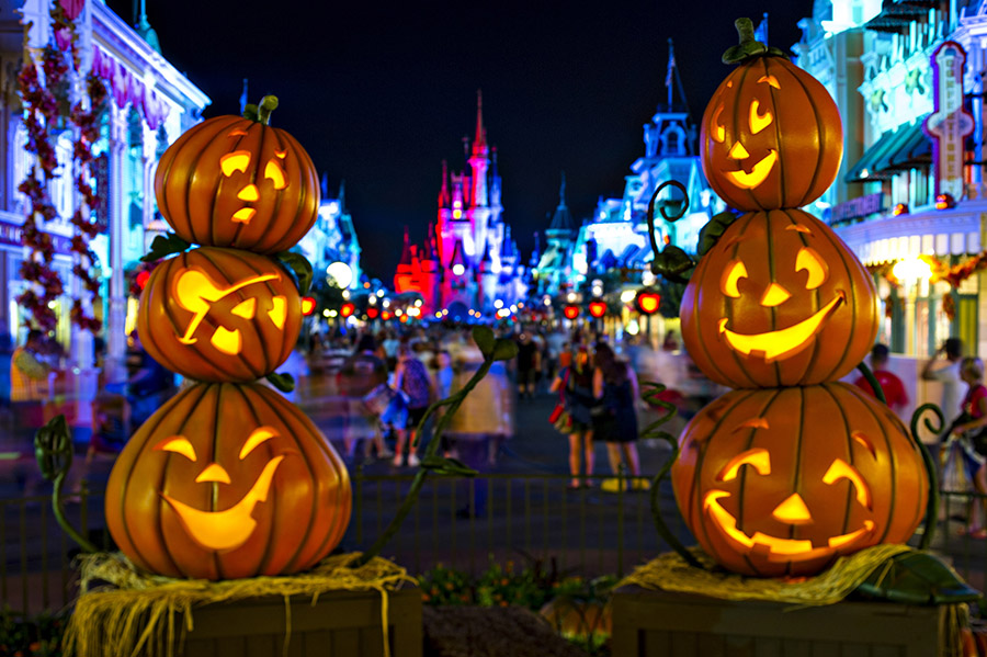 Trick-or-Treating pumpkins at Mickey's not-so-spooky Halloween party at Disney World