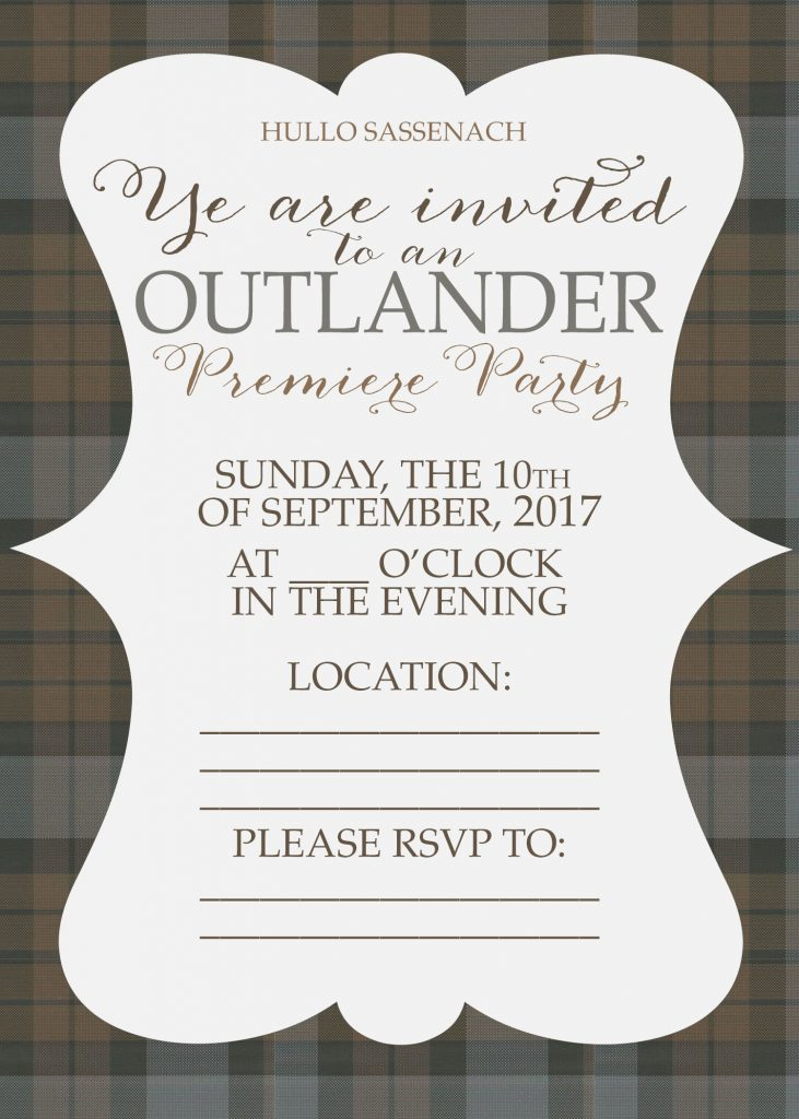 Free Outlander Premiere Party Invitations and Printables - Unskinny ...