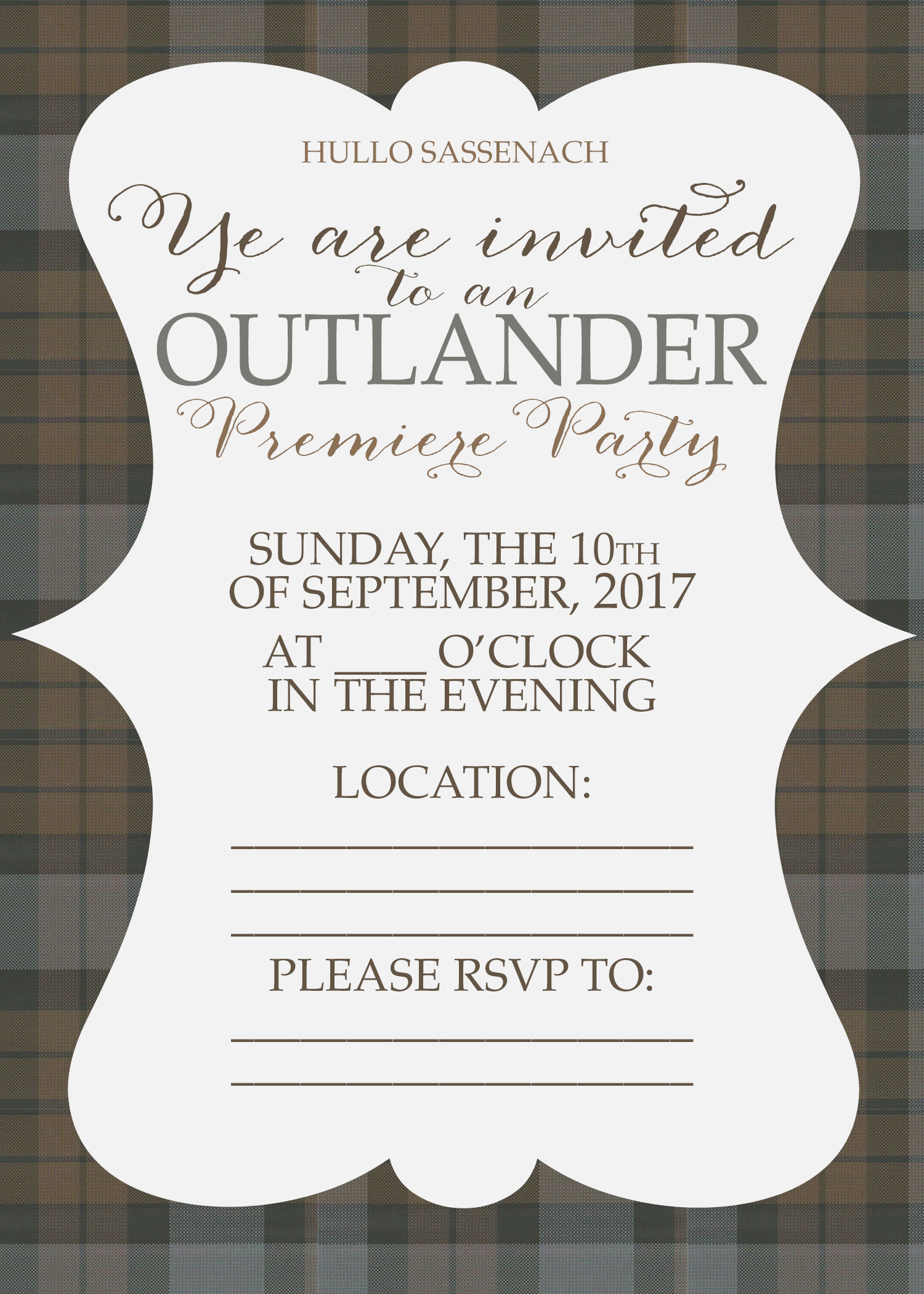 Free outlander premiere party invitations and printables unskinny i stopboris Images
