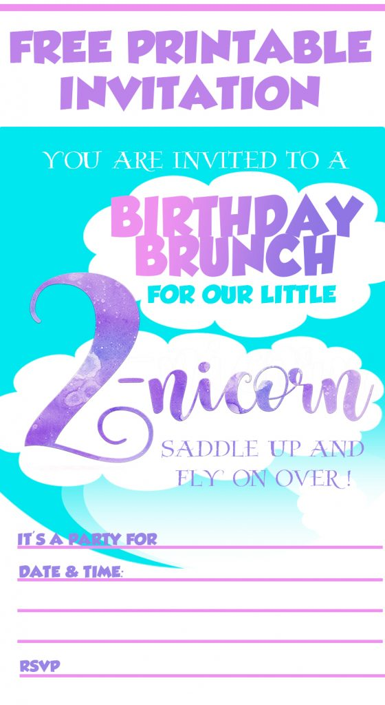 You Can Download A Free Printable Of These 2 Nicorn Birthday Brunch Invitations To Use For Your Little Ones 2nd