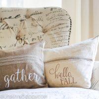gather hello fall pillows on burlap