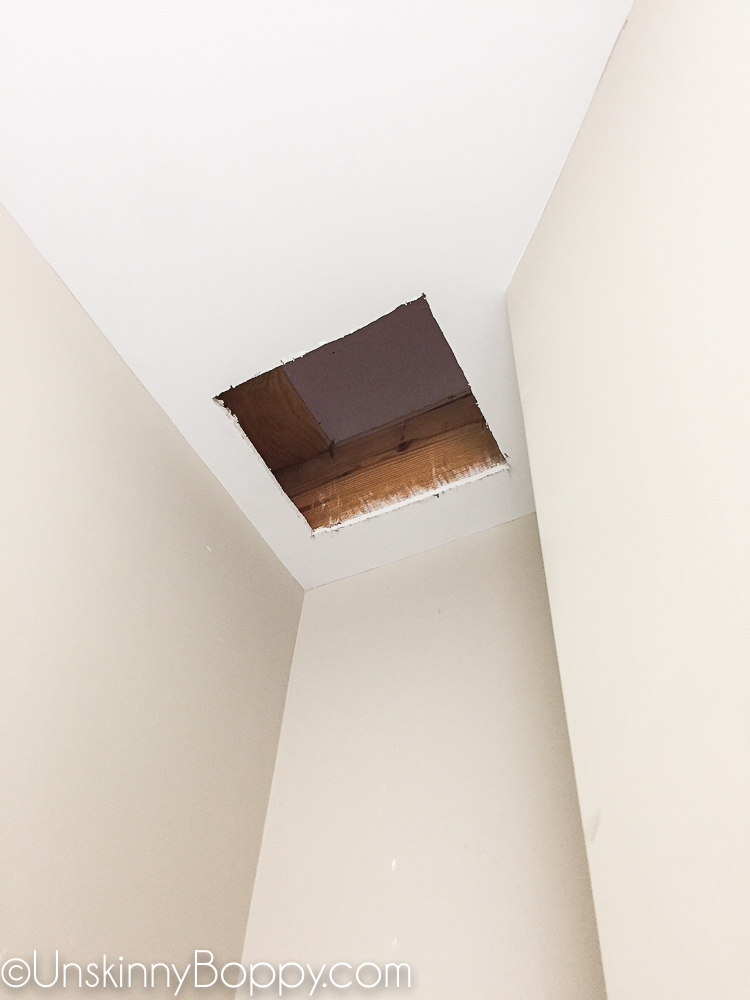 Cutting hole in ceiling for a laundry chute