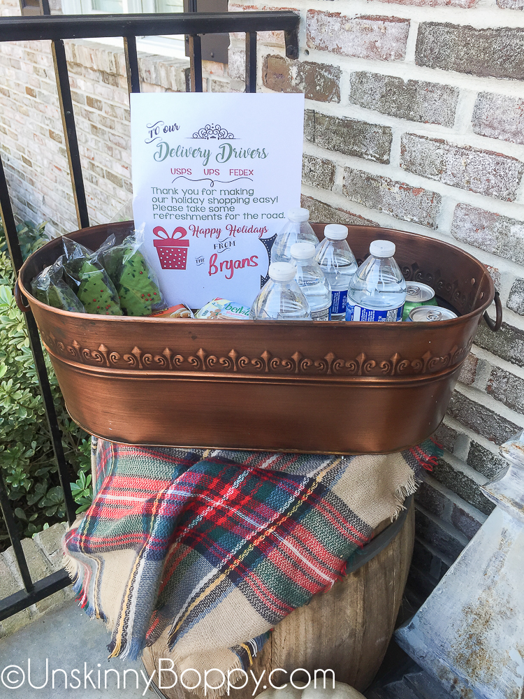 Snack Bucket on Porch for Delivery Guys
