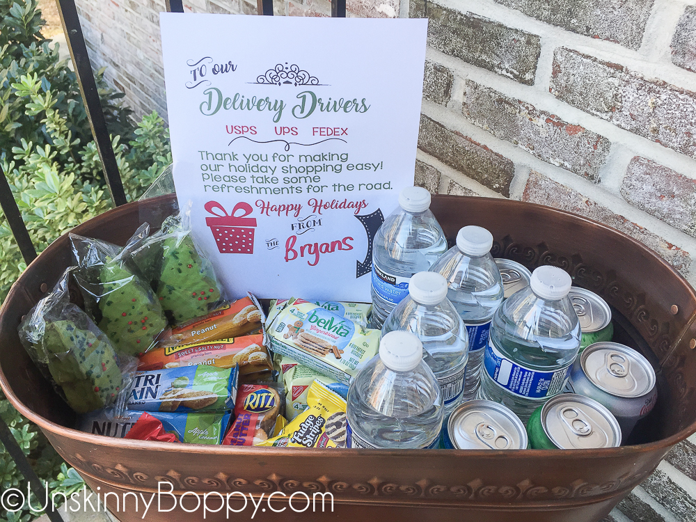 Bucket of treats for postal workers and amazon delivery drivers
