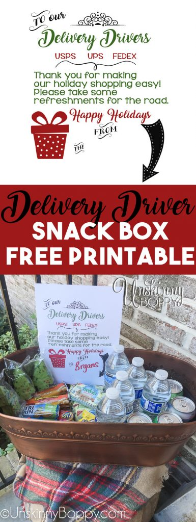 Delivery Driver Snack Box Free Printable for Christmas Packages