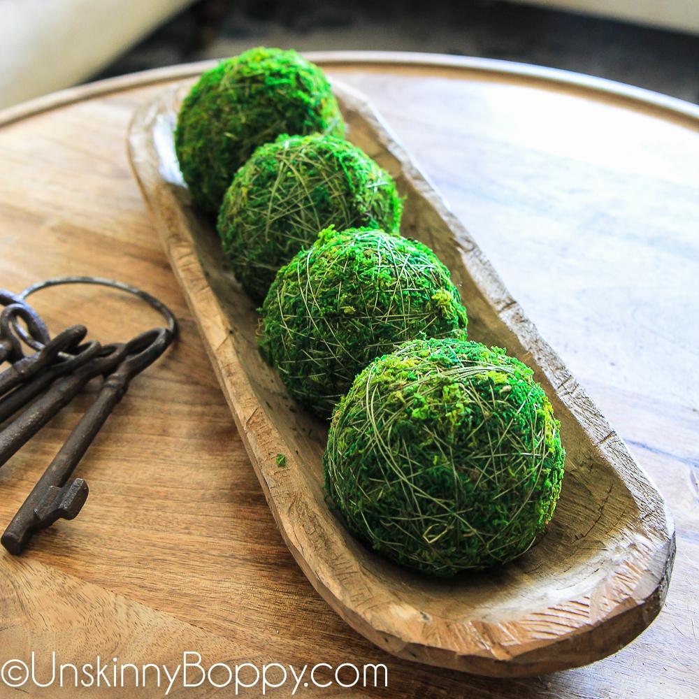 Moss balls in a dough bowl