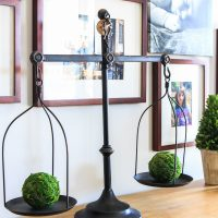 Weights and measure farmhouse decor with moss balls