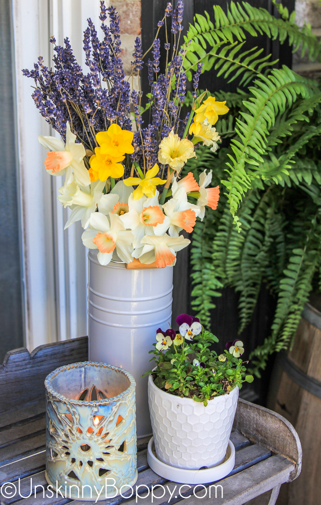Daffodils and dried lavender in an IKEA grey bucket