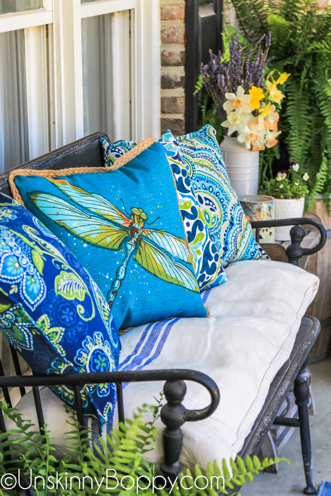 Blue and green dragonfly outdoor pillow from Lowes