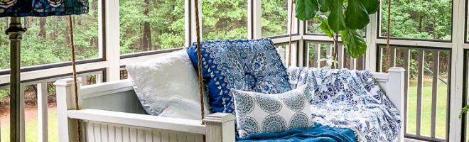 Screened-in Back Porch Makeover {+ a new swing bed!}