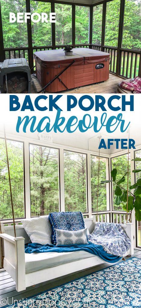 Back Porch Makeover before after