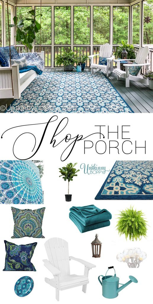 BLUE AND WHITE BACK PORCH DECOR